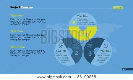 Three stage infographic circle diagram. Element of presentation, banner, layout. Concept for infographics, business templates, reports. Can be used for topics like marketing research, education