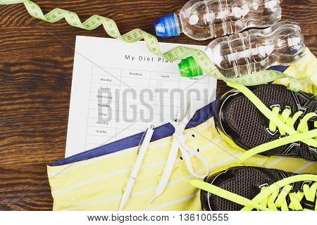 Green Sneakers, Clothing And Tape Measuring