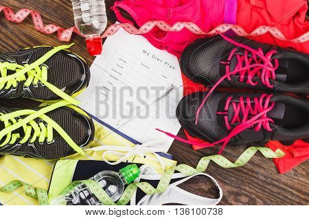 Sneakers, Clothing, Diet Plan And Tape Measuring