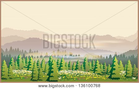 Stylized vector illustration of a picturesque forest. Illustration seamless horizontally if necessary