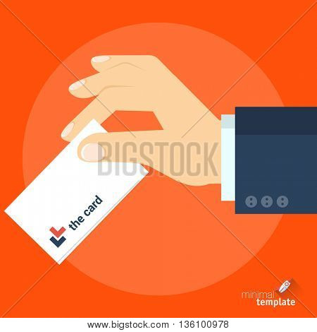 Flat design vector hand with business card icon. Business card in the hand vector mock up of icon for application interface, web design and presentation. Hand with ID, credit card, ticket vector icon.