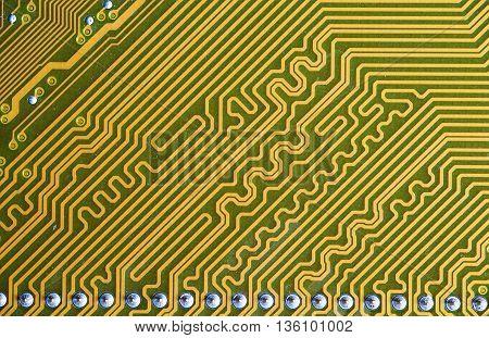 Printed board of computer component closeup, natural color