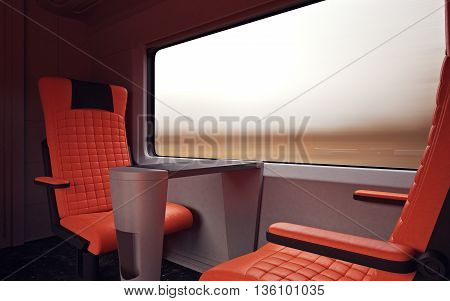 Interior Inside First Class Cabin Modern Speed Express Train.Nobody Red Chairs Window.Comfort Seats and Table Business Travel. 3D rendering.High Textured Row Materials. Motion Blurred Background