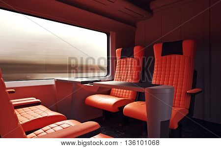 Interior Inside First Class Cabin Modern Speed Express Train.Nobody Red Chairs Window.Comfortable Seats and Table Business Travel. 3D rendering.High Textured Row Materials. Motion Blur Background