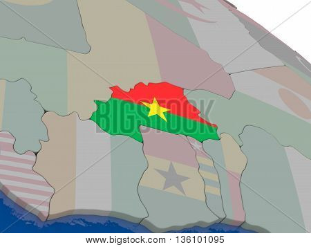 Burkina Faso With Flag