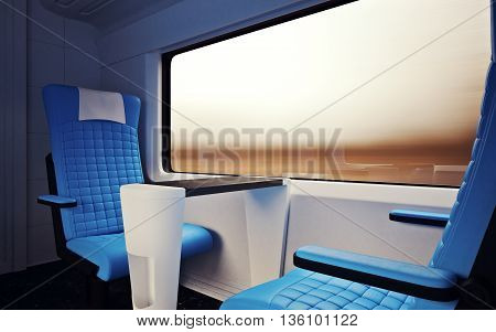 Interior Inside First Class Cabin Modern Speed Express Train.Nobody Leather Chairs Window.Comfort Seats and Table Business Travel. 3D rendering.High Textured Row Materials. Motion Blurred Background