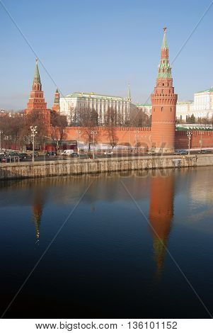 MOSCOW - FEBRUARY 24, 2016: Moscow Kremlin. UNESCO World Heritage Site. Color photo.