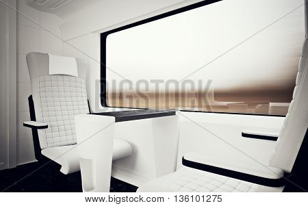 Interior Inside First Class Cabin Modern Speed Express Train.Nobody White Leather Chair Window.Comfortable Seat Table Business Travel.3D rendering.High Textured Row Material.Motion Blur Background