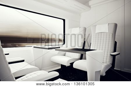 Interior Inside Vip Class Cabin Modern Fast Express Train.Nobody White Leather Chair Window.Comfortable Seat Table Business Travel.3D rendering.High Textured Row Material.Motion Blur Background