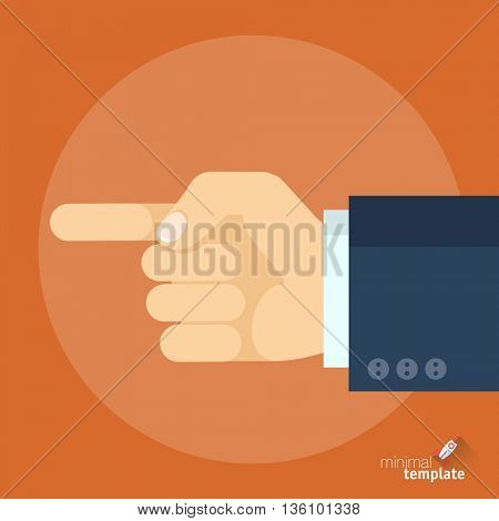 Flat design interface vector icon of hand with finger pointing direction. Pointing finger showing right direction, the sign of how to and where, icon for application, presentation and web design.