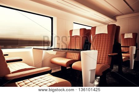 Interior Inside First Class Cabin Modern Speed Express Train.Empty Red Brown Window.Comfortable Seats and Table Business Travel. 3D rendering.High Textured Row Materials. Motion Blurred Background