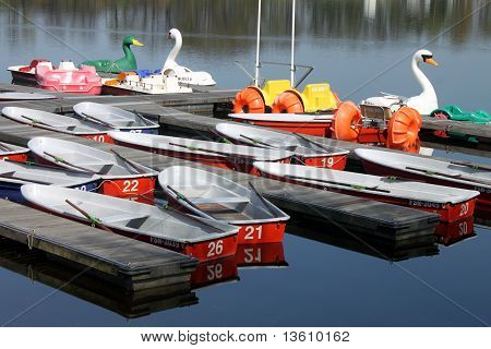 rowing boats on a lake