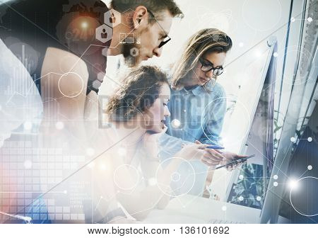 Coworkers Team Working Office Studio Startup.Businessman Using Modern Tablet, Desktop Monitor Wood Table.Bank Managers Market Researching Process.World Wide HiTech Diagram Interface Screen.Blurred.