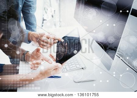 Coworkers Team Working Office Studio Startup.Businessman Using Modern Tablet, Desktop Monitor Wood Table.Bank Managers Market Researching Process.World Wide HiTech Icons Interface Screen Device.Blurred