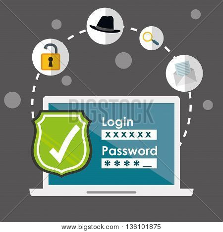 Digital fraud and hacking design, vector illustration.
