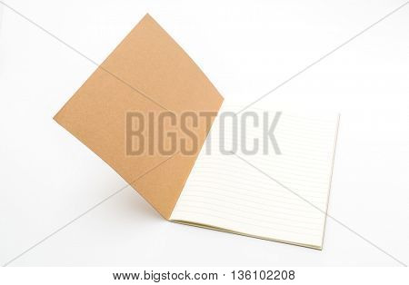 Recycled paper book  on white background
