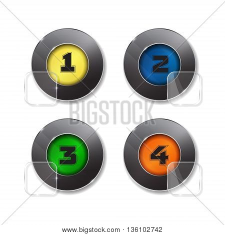 Vector banners set. 4 bright colors. glass elements with round corners