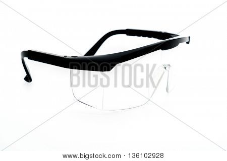 Plastic Protective Work Glasses on a White Background