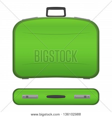 Green realistic suitcase with shadows in two projections, isolated on white background. Plastic or leather modern travel bag. Baggage for tourists on vacations. Stock vector illustration.