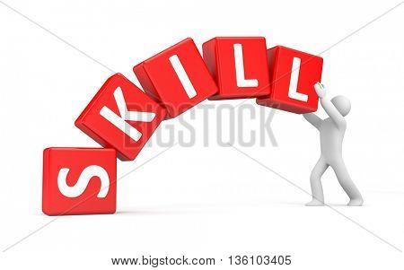3d man builds his skill. 3d illustration