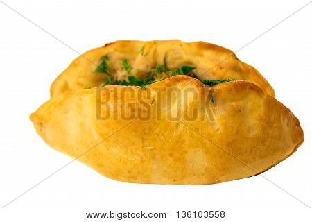 small pastry with filling on white background