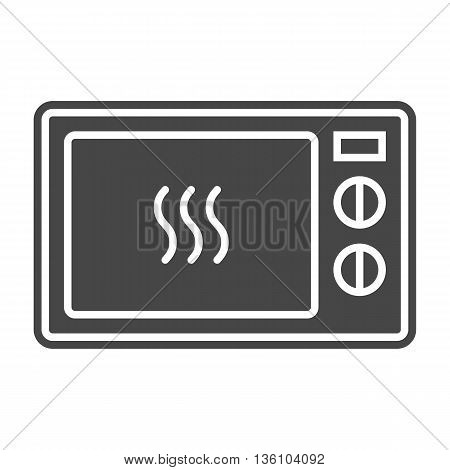 Microwave icon from appliances set. Solid gray color. Vector isolated illustration.