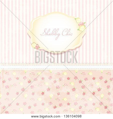 Marriage invitation card. shabby chic wedding invitation. Vector illustration. Floral Save the Date or wedding  set. English style. golden frame