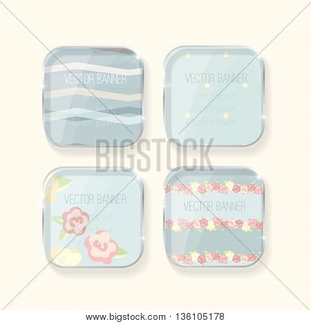Vector banners set. pastel colors. glass elements. english style. shabby chic. pink color. Vector label with a glass surface.  Eps