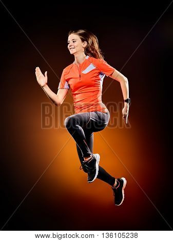 woman runner running jogger jogging isolated