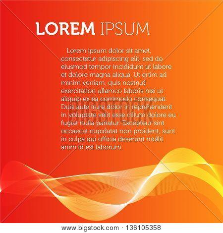 Orange color background. Transparent wavy element brochure. Flyer template. Smoke illustration. Designed catalogue page image. Simple flat leaflet
