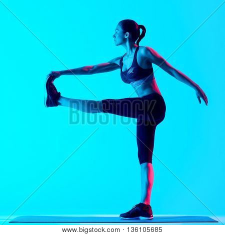 woman fitness exercices stretching  isolated