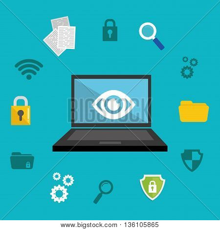 Security system and technology graphic design, vector illustration