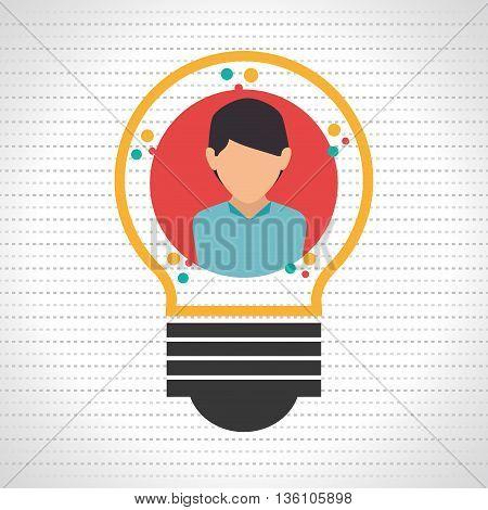 person inside bulb design, vector illustration eps10 graphic