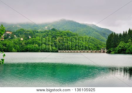Lake Brugneto with dam in Park Antola Liguria Italy