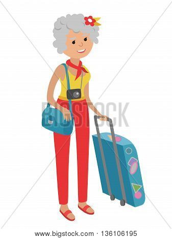 Illustration of elderly woman traveling isolated on white background. Senior woman holding bags and suitcase in her hands. Senior woman illustration on flat style.