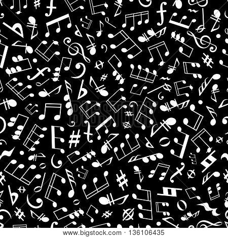 Seamless white musical notation pattern on black background for music, arts and entertainment themes design with scattered musical notes, marks and symbols