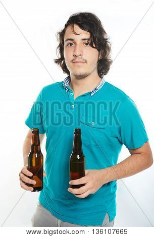 Man Hold Two Beer Bottles