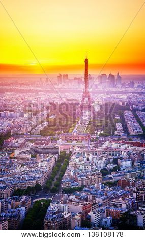 Eiffel Tower and Paris cityscape from above, France, retro toned