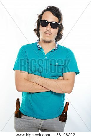 Man With Crossed Arms And Beer