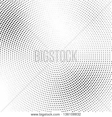 Vector halftone abstract transition dotted circular pattern wallpaper. Abstract  halftone effect black dots geometric background.