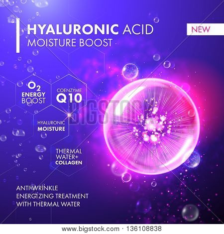 Hyaluronic Acid Moisture Boost. Coenzyme Q10 and hyaluronic acid energy boost moisturizing collagen design. Oxygen Underwater bubble for skin care concept.