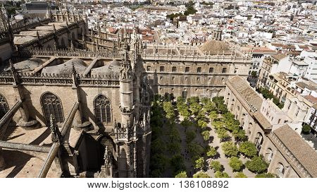 View of the Cathedral of Seville the capital and largest city of the autonomous community of Andalusia Spain