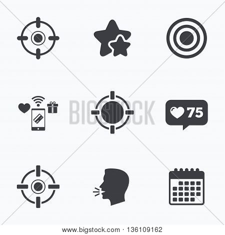 Crosshair icons. Target aim signs symbols. Weapon gun sights for shooting range. Flat talking head, calendar icons. Stars, like counter icons. Vector