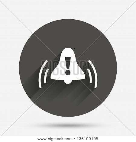 Alarm bell with exclamation mark sign icon. Wake up alarm symbol. Circle flat button with shadow. Vector