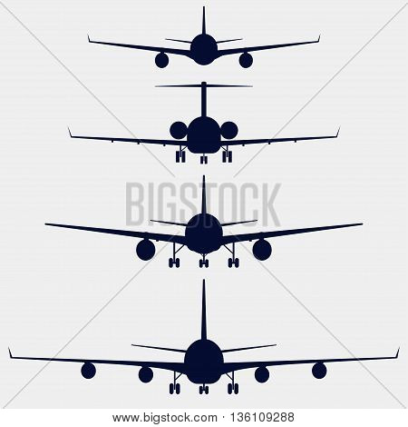 Airplanes silhouette front view, jet aircraft, plane