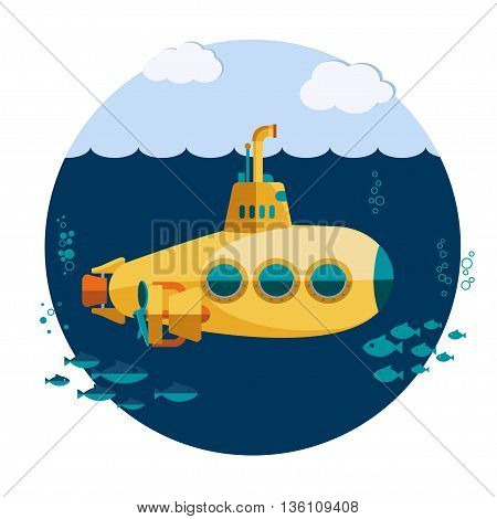 Yellow Submarine undersea with fishes, underwater boat Flat design