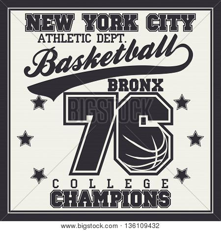 Basketball Sport Fashion Typography Graphics. Champion T-shirt Design.