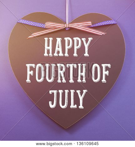 Fourth Of July Greeting On Heart Shape Blackboard