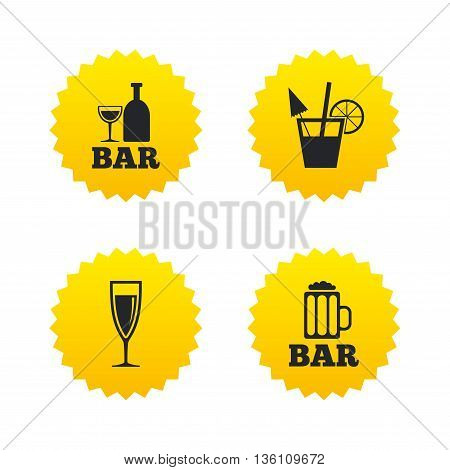 Bar or Pub icons. Glass of beer and champagne signs. Alcohol drinks and cocktail symbols. Yellow stars labels with flat icons. Vector