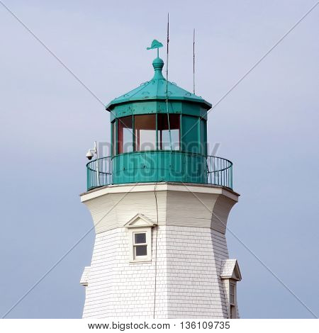 Top of lighthouse in Port Dalhousie on shore of Lake Ontario 26 June 21016 Canada